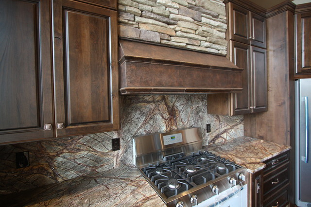 Images Of Rustic Mahogany Cabinets In Kitchens Forest Web Mahogany Marble Backsplash - Rustic - Kitchen