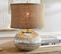 Celia Ribbed Mercury Glass CFL Bedside Lamp Base ...