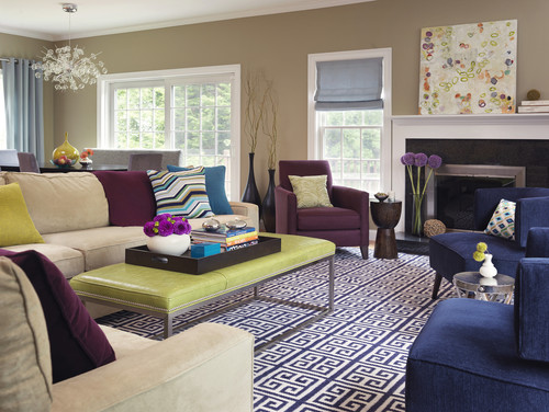 Color Inspiration u2013 Purple, Green and Teal - purple living room set