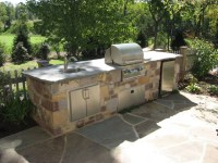 Custom Outdoor Kitchen with Flagstone Patio - Traditional ...