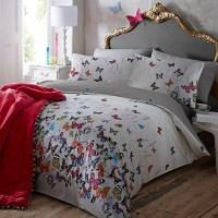 Light Gray 'Butterflies' Bedding Set - Contemporary ...