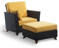 Rattan Chair Ottoman Set with yellow cushion - Traditional ...