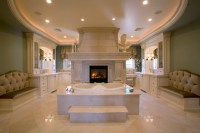 Master Bath Suite with his and her vanities and closets ...