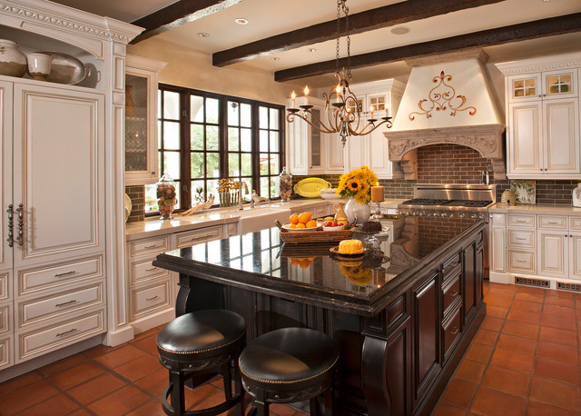 Colonial Kitchen Color Ideas With Dark Cabinets Spanish Colonial Remodel - Mediterranean - Kitchen