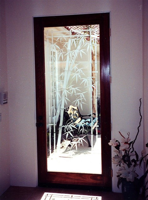 Tv In Front Of Window Interior Design Bamboo Shoots Glass Front Door - Asian - Entry - Other