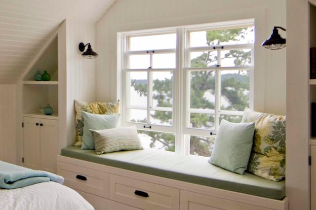 Sullivan island cottage bedroom window seat rustic bedroom