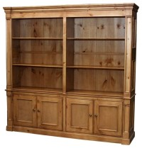 Country Double-Wide Bookcase w 6 Shelves (Antique White ...