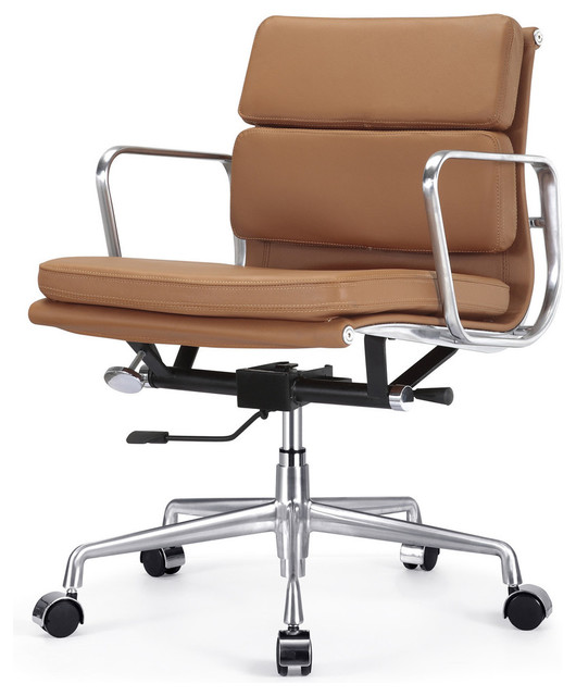 Eames style soft pad office chair in brown leather modern task chairs