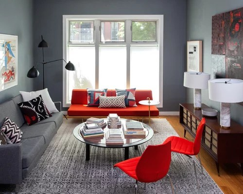 Red And Gray Living Room Ideas \ Design Photos Houzz - grey and red living room