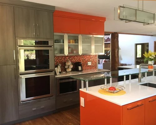 large contemporary galley eat kitchen eat kitchen designs orange gloss kitchen designs contemporary