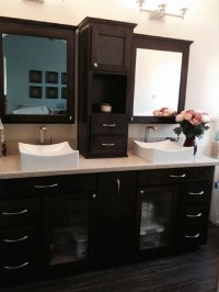 Maple Double Sink Vanity - Hutch and Dedicine Cabinets