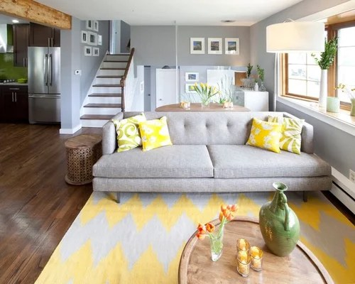 Yellow Grey Blue Family Rooms Houzz - yellow and grey living room