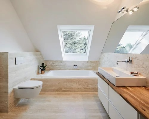 Badezimmer Mit Travertin Boden Design Ideen Beispiele - Travertin Fliesen Bad