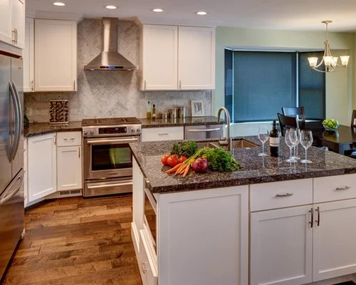 affordable mid sized shaped kitchen design ideas remodels photos transitional eat kitchen multiple islands design ideas