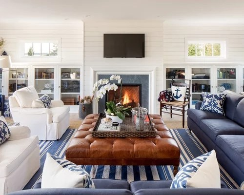 Beach Style Living Room with a Tile Fireplace Surround Ideas - beach style living room