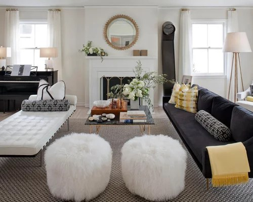 Round Leather Pouf Houzz - poufs for living room