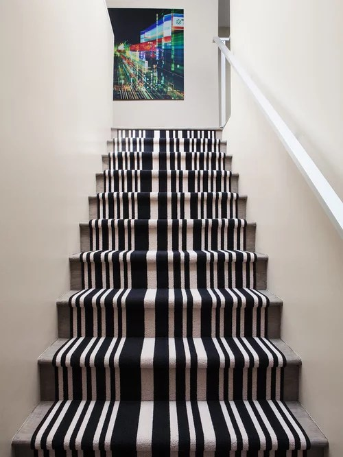 Slippery Wood Stairs Striped Carpet Stairs | Houzz