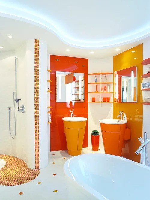 Moderne Badezimmer Fliesen Orange