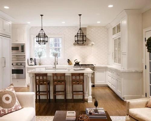 shaped open concept kitchen remodel atlanta white cabinets backsplash tile