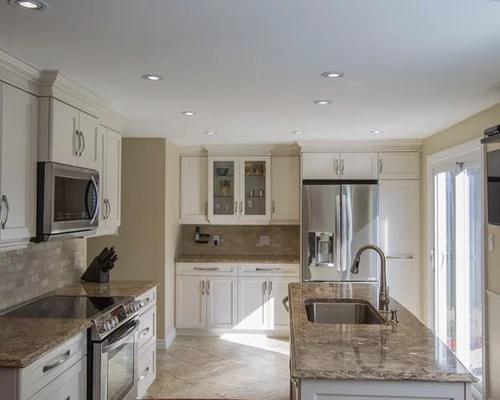 traditional single wall kitchen design ideas renovations photos inspiration small transitional single wall eat kitchen