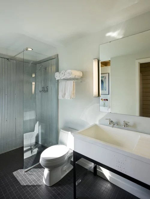 Flat Panel Cabinets Corrugated Metal Shower | Houzz