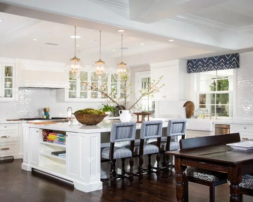 White Kitchen Cabinets And Green Backsplash Square Kitchen Island | Houzz