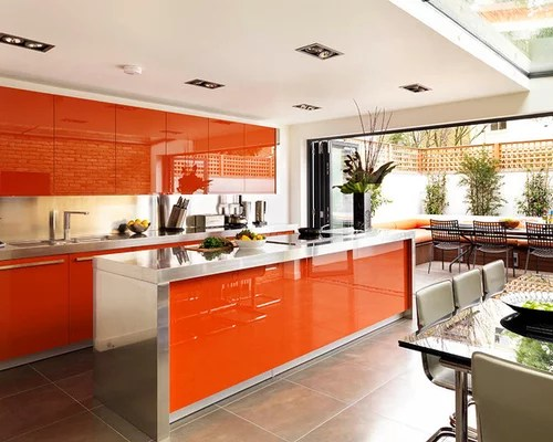 red eat kitchen stainless steel countertops design ideas eat kitchen designs orange gloss kitchen designs contemporary
