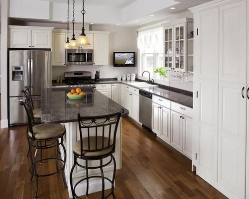 traditional shaped kitchen idea boston raised panel cabinets home design layout part