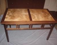 Coffe table . Myrtle Wood burl , Walnut