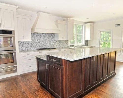 transitional kitchen design ideas remodels photos mosaic tile inspiration small transitional single wall eat kitchen