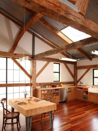 Cathedral Ceiling With Wood Beams | Houzz
