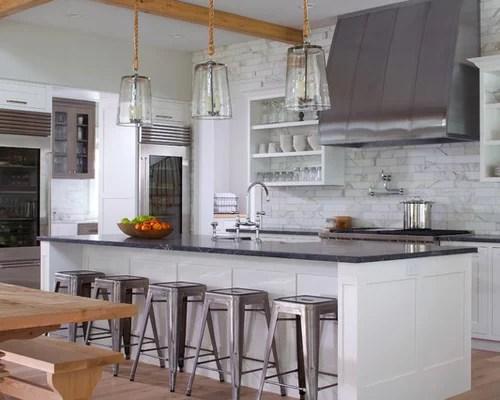 calacatta fantastico marble tile single wall kitchen design ideas inspiration small transitional single wall eat kitchen