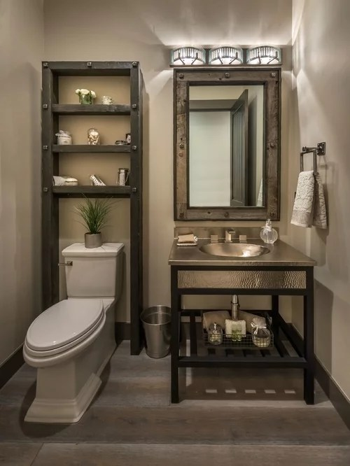 Towel Bar Placement Rustic Powder Room Design Ideas, Remodels & Photos