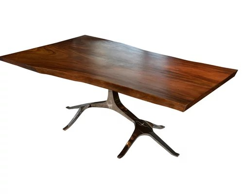 Exotic Solid Wood Stainless Steel Slab Tables