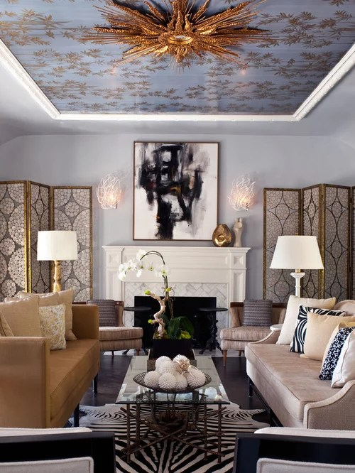 Living Room Wallpaper Ideas Houzz - wallpaper ideas for living room