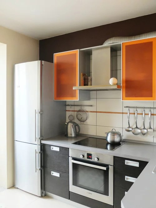 small contemporary shaped eat kitchen idea moscow flat modern eat kitchen designs