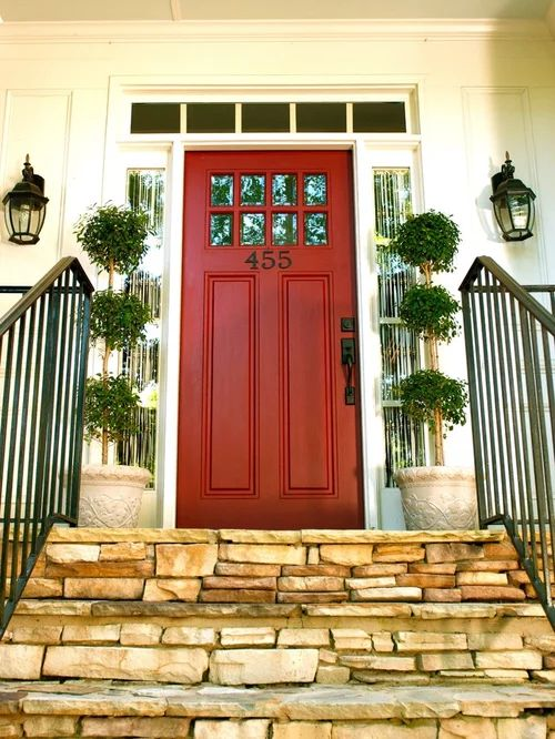 Red brick and front door home design ideas pictures remodel and