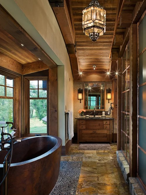 Rustic Ensuite Bathroom Design Ideas Renovations Photos With Travertine Flooring