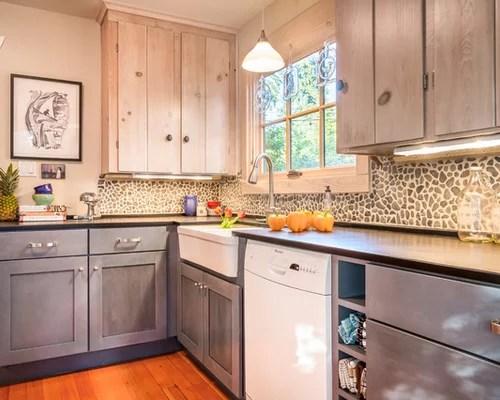 cabinets blue cabinets stone tile backsplash white appliances rustic kitchen backsplash tile