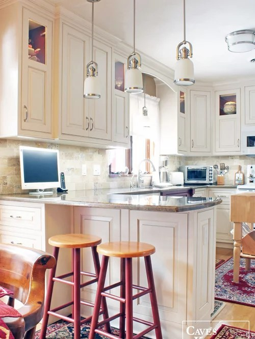 Flat Panel Cabinets Peninsula Seating | Houzz