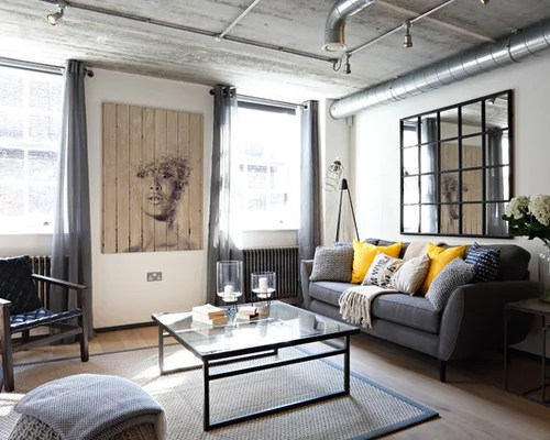 Industrial Gray And Yellow Living Room Ideas \ Design Photos Houzz - industrial living room ideas