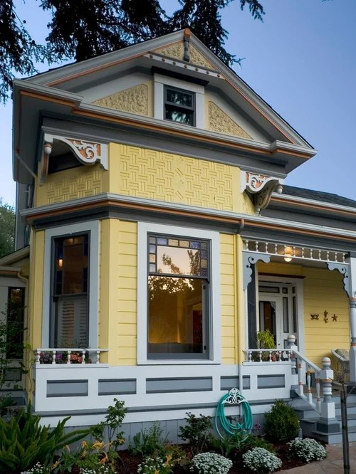 What Color Shutters Go With A Yellow House Queen Anne Restoration Home Design Ideas, Pictures