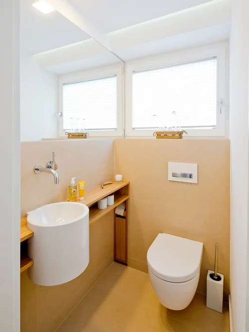 Gästetoilette \ Gäste-WC mit offenen Schränken Ideen für Gästebad - designer schranke holz keramik