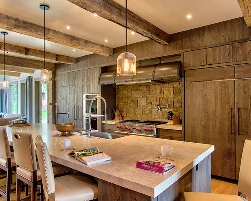mountain style open concept kitchen photo flat panel images design rustic kitchen johngupta kitchen designs