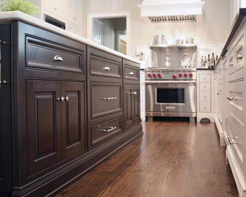 U Shaped Kitchen Design With Island Special Walnut-stained Floors | Houzz