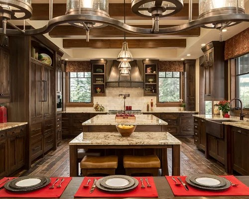 large rustic shaped eat kitchen idea calgary farmhouse images design rustic kitchen johngupta kitchen designs