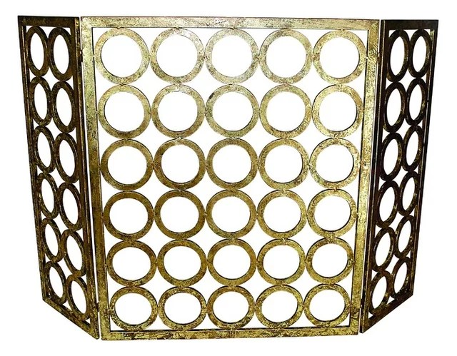 Italian Circle Fire Screen, Gold - Transitional - Fireplace Screens - dr livingstone i presume accessories