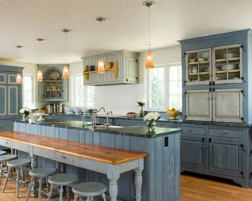 Light blue kitchen cabinets houzz