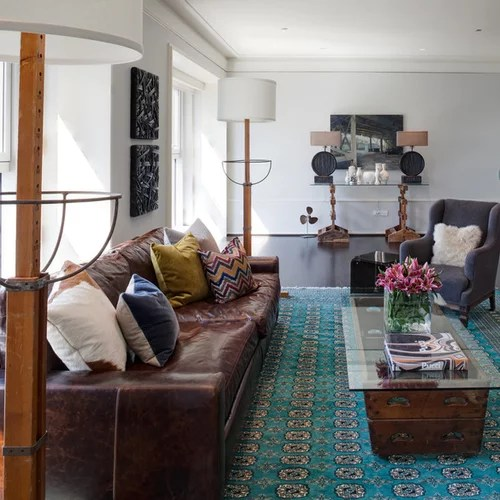 Reddish Brown Leather Couch Houzz - brown leather couch living room