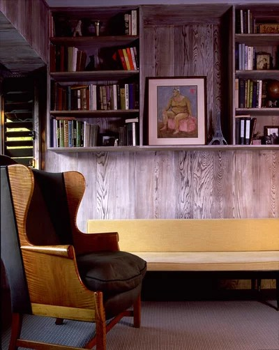 How to Update Cozy Wood Paneling - concrete wall design example